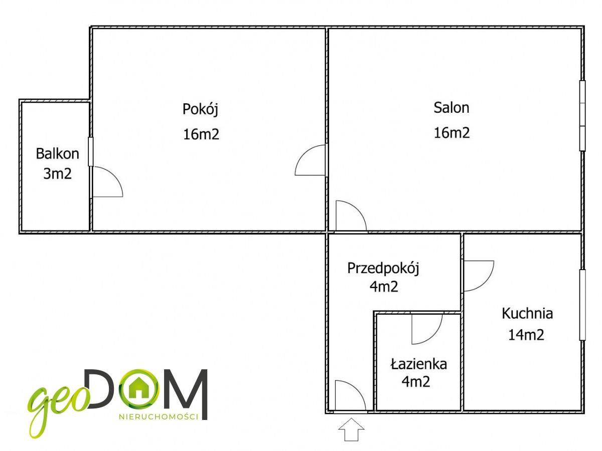 Mieszkanie 2-pokojowe, 54m 2 , 1 piętro
