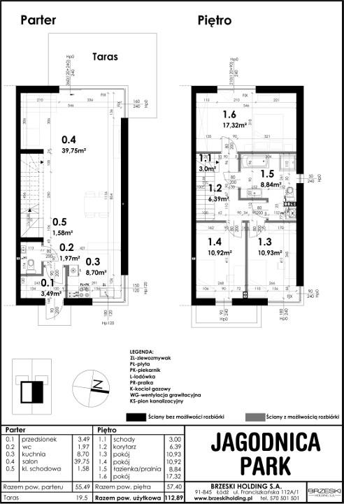 Bliźniak, 4 pokoje, 112,89m 2 , 1-piętrowy